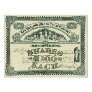 Vintage Capital Stock Certificate Business Finance Poster
