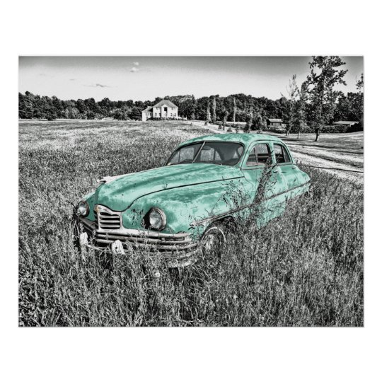 vintage car abandoned in field mint green poster. poster