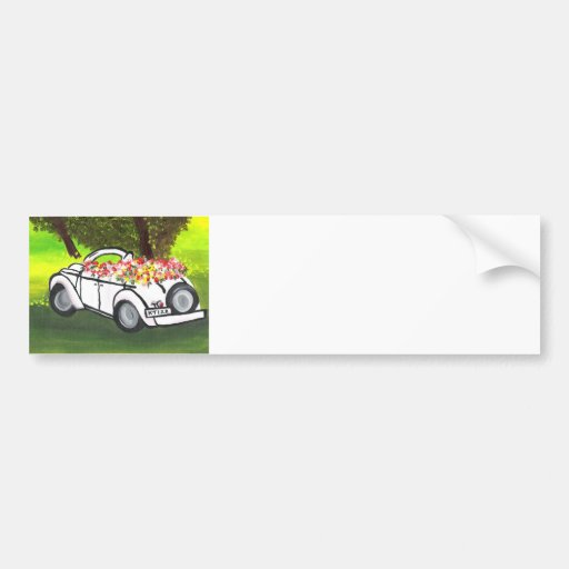 Vintage Car and Spring Flowers (K.Turnbull Art) Bumper Stickers