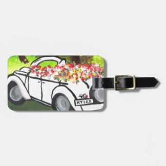 Vintage Car and Spring Flowers (K.Turnbull Art) Luggage Tag