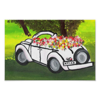 Vintage Car and Spring Flowers (K.Turnbull Art) Poster