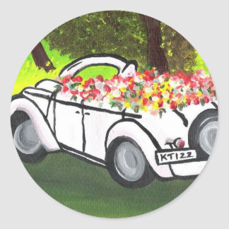 Vintage Car and Spring Flowers K Turnbull Art Round Sticker