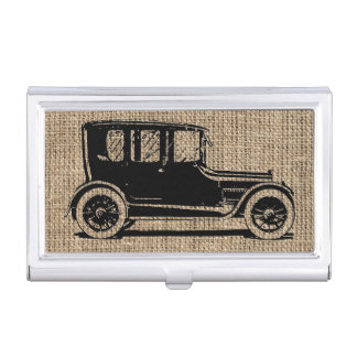 Vintage Car Burlap Business Card Holder