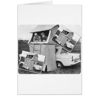 Vintage Car Camping Caravan Card