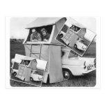 Vintage Car Camping Caravan Postcard