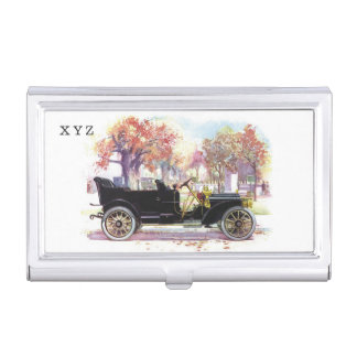 Vintage car custom monogram business card holder