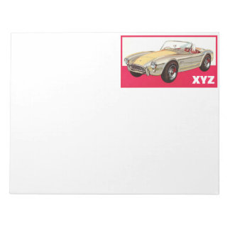 Vintage car custom monogram notepad