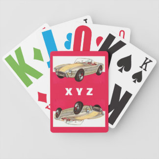 Vintage car custom monogram playing cards
