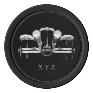 Vintage car custom monogram poker chips