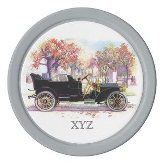 Vintage car custom monogram poker chips