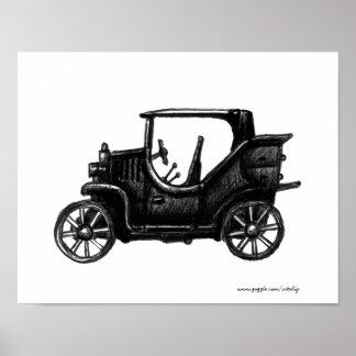 Vintage car drawing art poster