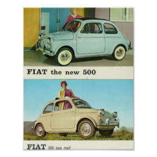 Vintage car Fiat 500 in Italy Poster | retro print