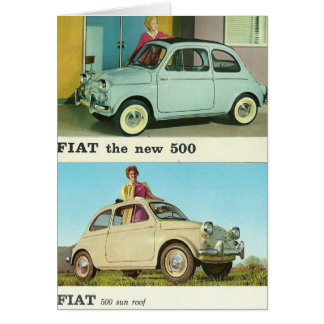 Vintage car greeetings card | Fiat 500 | Italy