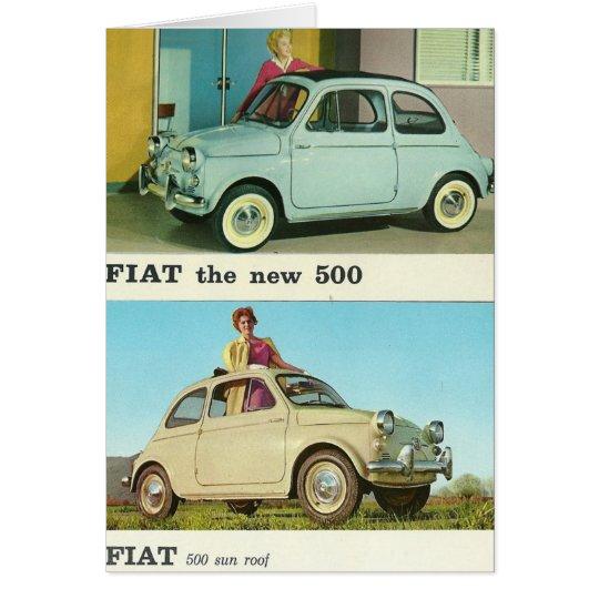 Vintage car greeetings card | Fiat 500 |