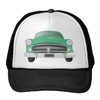 vintage_car_GREEN GRAY OLD-FASHIONED CAR graphic Mesh Hat