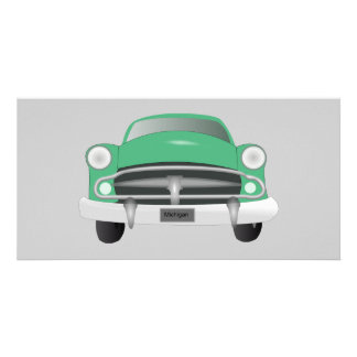 vintage_car_GREEN GRAY OLD-FASHIONED CAR graphic Picture Card
