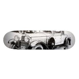 Vintage car illustration skateboard deck