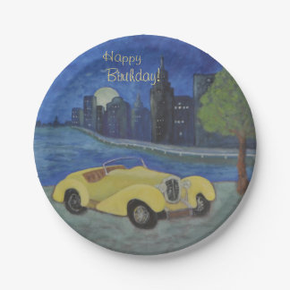Vintage Car In the City Paper Plate