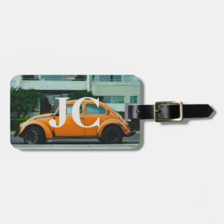 vintage car luggage tag with initials
