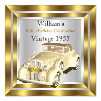 Vintage Car Men's 60th Birthday Party Gold Silver 13 Cm X 13 Cm Square Invitation Card