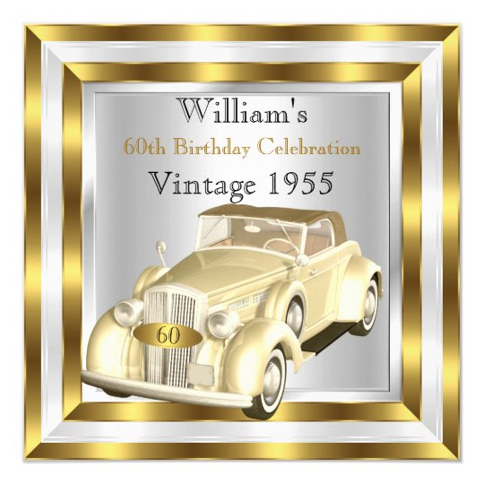Vintage Car Men's 60th Birthday Party Gold White