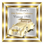 Vintage Car Men's 60th Birthday Party Gold White 13 Cm X 13 Cm Square Invitation Card