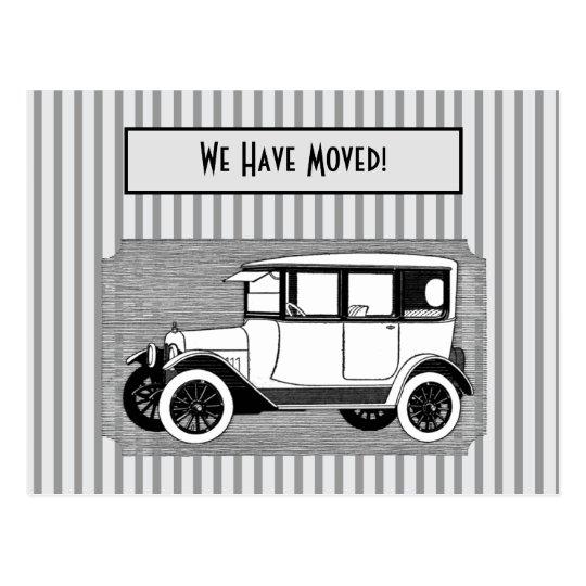 Vintage Car on Grey Stripes Change of Address