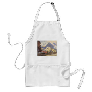 Vintage Car on Mountain Road with Snow in Winter Apron
