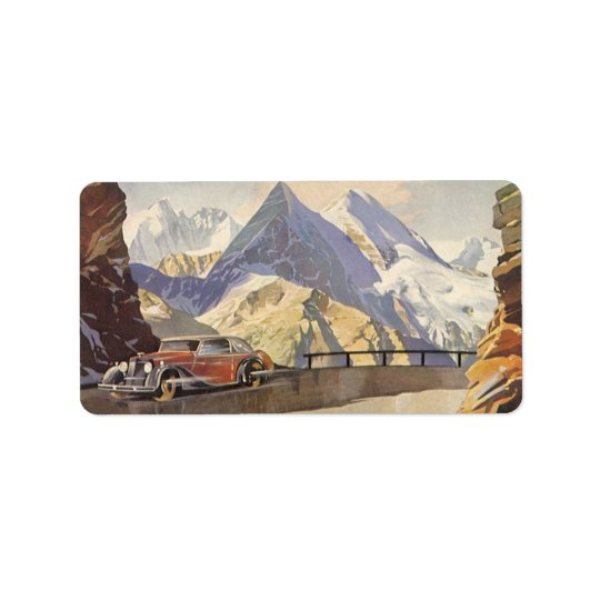Vintage Car on Mountain Road with Snow in Winter Label