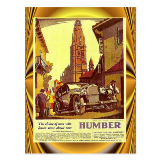 Vintage car poster, Humber, British Car Postcard
