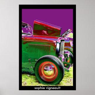 vintage car psychedelic poster
