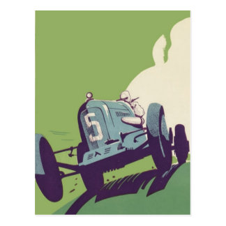 Vintage car racing postcard