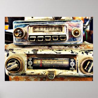Vintage car radios poster