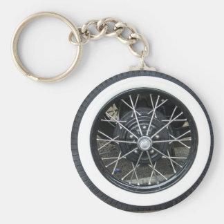 Vintage Car Tile Wheel Round Keychain