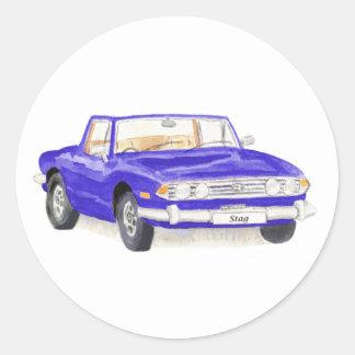Vintage car, Triumph Stag sticker, blue Classic Round Sticker