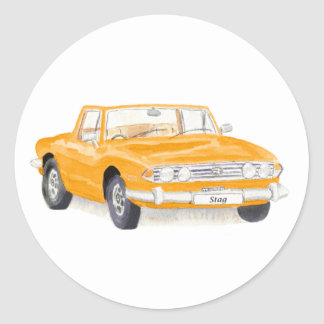 Vintage car, Triumph Stag sticker, orange Classic Round Sticker