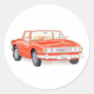 Vintage car, Triumph Stag sticker, red Classic Round Sticker