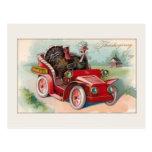 Vintage Car/Turkey Thanksgiving Card Postcard