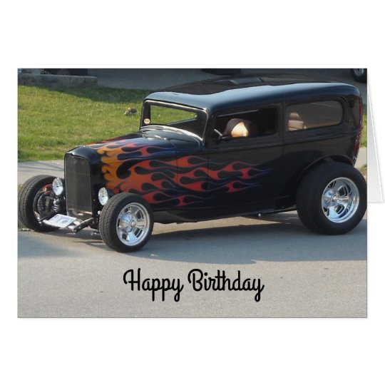 Vintage Car With Flames Card