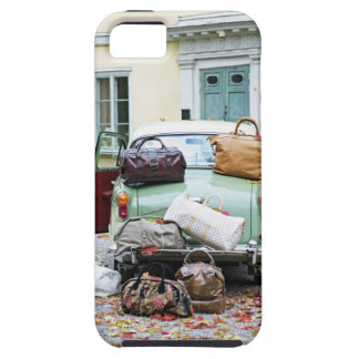 Vintage car with lots of luggage iPhone 5 cases