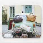 Vintage car with lots of luggage mousemat