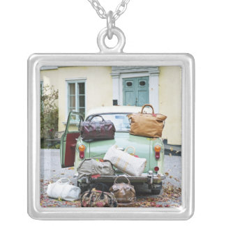 Vintage car with lots of luggage silver plated necklace
