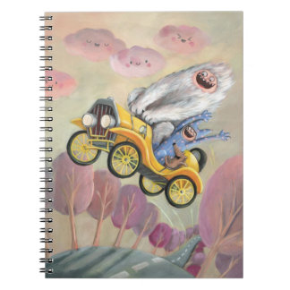 Vintage Car with Monsters Spiral Notebook
