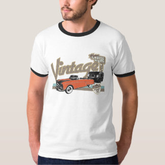 Vintage car with trailer 2 outline T-Shirt