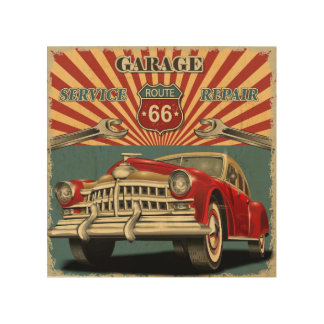 Vintage Car Wood Wall Art