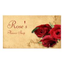 Vintage Caramel Brown & Rose Florist Business Card Template
