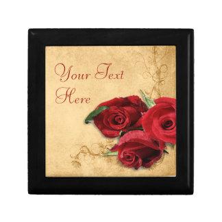 Vintage Caramel Brown & Rose Gift Box