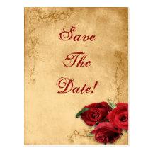 Vintage Caramel Brown & Rose Save The Date Wedding Post Cards