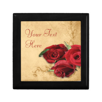 Vintage Caramel Brown & Rose Small Square Gift Box