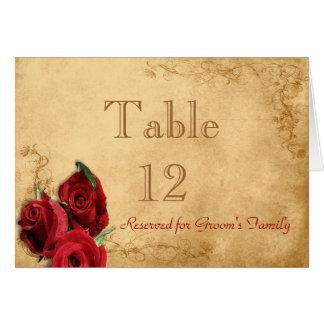 Vintage Caramel Brown & Rose Table Number Card